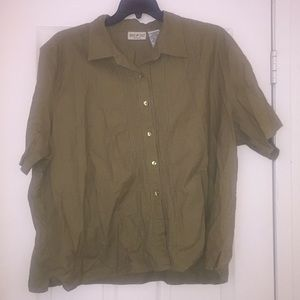 White Stag Women's Size 26W/28W Olive Green Top